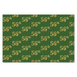 [ Thumbnail: Green, Faux Gold 56th (Fifty-Sixth) Event Tissue Paper ]