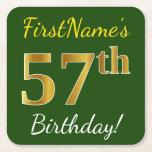 [ Thumbnail: Green, Faux Gold 57th Birthday + Custom Name Paper Coaster ]