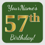 [ Thumbnail: Green, Faux Gold 57th Birthday + Custom Name Sticker ]