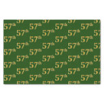 [ Thumbnail: Green, Faux Gold 57th (Fifty-Seventh) Event Tissue Paper ]