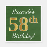 [ Thumbnail: Green, Faux Gold 58th Birthday + Custom Name Napkin ]