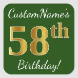 [ Thumbnail: Green, Faux Gold 58th Birthday + Custom Name Sticker ]