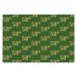 [ Thumbnail: Green, Faux Gold 58th (Fifty-Eighth) Event Tissue Paper ]