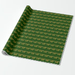 [ Thumbnail: Green, Faux Gold 58th (Fifty-Eighth) Event Wrapping Paper ]