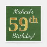 [ Thumbnail: Green, Faux Gold 59th Birthday + Custom Name Napkin ]