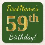 [ Thumbnail: Green, Faux Gold 59th Birthday + Custom Name Paper Coaster ]