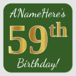 [ Thumbnail: Green, Faux Gold 59th Birthday + Custom Name Sticker ]