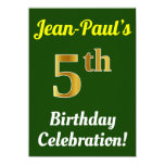 [ Thumbnail: Green, Faux Gold 5th Birthday Celebration + Name Invitation ]