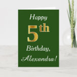 [ Thumbnail: Green, Faux Gold 5th Birthday + Custom Name Card ]