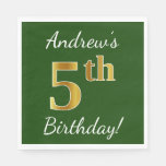 [ Thumbnail: Green, Faux Gold 5th Birthday + Custom Name Paper Napkin ]