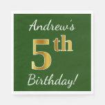 [ Thumbnail: Green, Faux Gold 5th Birthday + Custom Name Paper Napkin ]