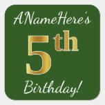[ Thumbnail: Green, Faux Gold 5th Birthday + Custom Name Sticker ]