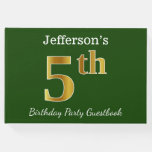 [ Thumbnail: Green, Faux Gold 5th Birthday Party + Custom Name Guest Book ]