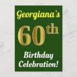 [ Thumbnail: Green, Faux Gold 60th Birthday Celebration + Name Invitation ]