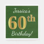 [ Thumbnail: Green, Faux Gold 60th Birthday + Custom Name Napkin ]