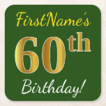 [ Thumbnail: Green, Faux Gold 60th Birthday + Custom Name Paper Coaster ]