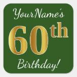 [ Thumbnail: Green, Faux Gold 60th Birthday + Custom Name Sticker ]