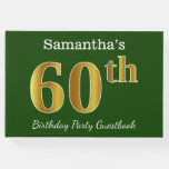 [ Thumbnail: Green, Faux Gold 60th Birthday Party + Custom Name Guest Book ]