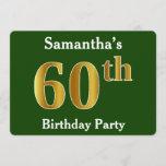 [ Thumbnail: Green, Faux Gold 60th Birthday Party + Custom Name Invitation ]
