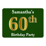 [ Thumbnail: Green, Faux Gold 60th Birthday Party + Custom Name Invitation ]