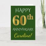 [ Thumbnail: Green, Faux Gold 60th Wedding Anniversary + Name Card ]