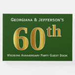 [ Thumbnail: Green, Faux Gold 60th Wedding Anniversary Party Guest Book ]