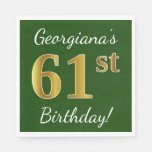 [ Thumbnail: Green, Faux Gold 61st Birthday + Custom Name Napkin ]