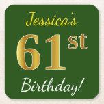 [ Thumbnail: Green, Faux Gold 61st Birthday + Custom Name Paper Coaster ]