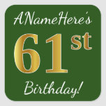 [ Thumbnail: Green, Faux Gold 61st Birthday + Custom Name Sticker ]