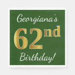 [ Thumbnail: Green, Faux Gold 62nd Birthday + Custom Name Napkin ]