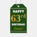 [ Thumbnail: Green, Faux Gold 63rd Birthday + Custom Name Gift Tags ]