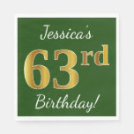 [ Thumbnail: Green, Faux Gold 63rd Birthday + Custom Name Napkin ]