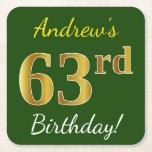 [ Thumbnail: Green, Faux Gold 63rd Birthday + Custom Name Paper Coaster ]