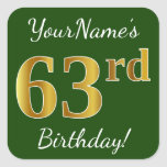 [ Thumbnail: Green, Faux Gold 63rd Birthday + Custom Name Sticker ]