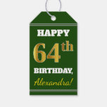 [ Thumbnail: Green, Faux Gold 64th Birthday + Custom Name Gift Tags ]