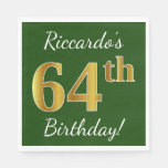[ Thumbnail: Green, Faux Gold 64th Birthday + Custom Name Napkin ]