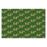 [ Thumbnail: Green, Faux Gold 64th (Sixty-Fourth) Event Tissue Paper ]