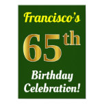 [ Thumbnail: Green, Faux Gold 65th Birthday Celebration + Name Invitation ]