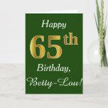 [ Thumbnail: Green, Faux Gold 65th Birthday + Custom Name Card ]