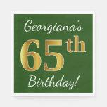 [ Thumbnail: Green, Faux Gold 65th Birthday + Custom Name Napkin ]
