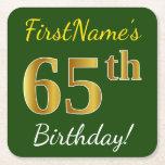 [ Thumbnail: Green, Faux Gold 65th Birthday + Custom Name Paper Coaster ]
