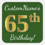 [ Thumbnail: Green, Faux Gold 65th Birthday + Custom Name Sticker ]
