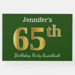 [ Thumbnail: Green, Faux Gold 65th Birthday Party + Custom Name Guest Book ]