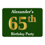 [ Thumbnail: Green, Faux Gold 65th Birthday Party + Custom Name Invitation ]