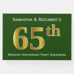 [ Thumbnail: Green, Faux Gold 65th Wedding Anniversary Party Guest Book ]