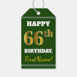 [ Thumbnail: Green, Faux Gold 66th Birthday + Custom Name Gift Tags ]
