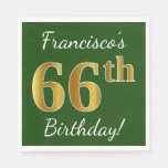 [ Thumbnail: Green, Faux Gold 66th Birthday + Custom Name Napkin ]