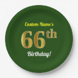 [ Thumbnail: Green, Faux Gold 66th Birthday + Custom Name Paper Plate ]
