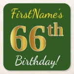 [ Thumbnail: Green, Faux Gold 66th Birthday + Custom Name Paper Coaster ]