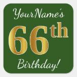 [ Thumbnail: Green, Faux Gold 66th Birthday + Custom Name Sticker ]